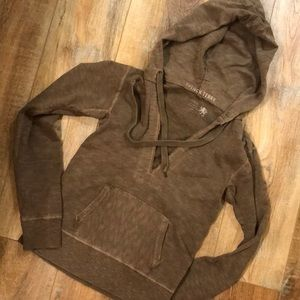 J CREW FRENCH TERRY v neck hoodie WOMENS XS BROWN